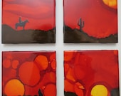 Hand Painted &Collaged Ceramic Tile Coasters - Set of 4