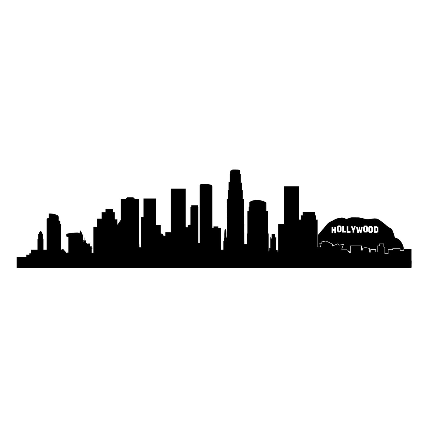 Cityscape Wall Stickers Los Angeles La Hollywood City Skyline Silhouette Wall Decal