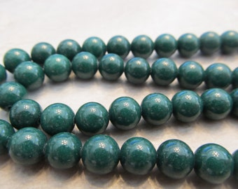 """Forest Green Malaysia """"Jade"""", 8mm Smooth Round Beads, 8"""" Strand"""