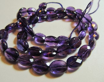 10 AA Amethyst Straight Drill Faceted Oval Beads, Approx. 8x10mm, 10 Beads