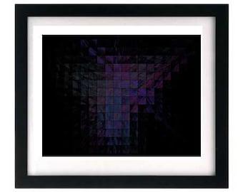 Abstract Giclée Art Print, Digital Painting, Black Purple Fractal 8.5 x 11 Replica