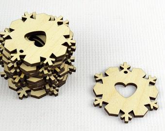 Set of 12x Christmas Wooden Snowflake Ornaments / Decor / Embellishments