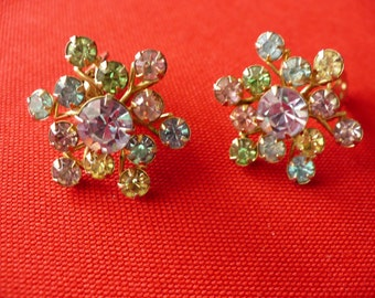 Multi color rhinestone vintage clip earrings