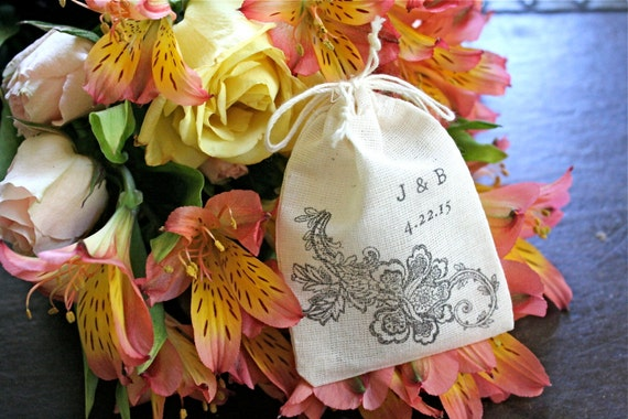 Personalized wedding ring bag.  Ring pillow alternative, ring warming, ring bearer accessory.  Black floral lace with initials and date.