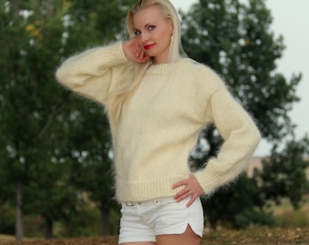 Made to order hand knitted mohair sweater in ivory by SuperTanya