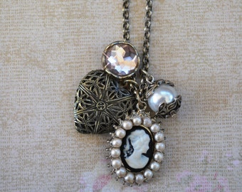 Pearl Silhouette Cameo with Heart Locket Charm Necklace