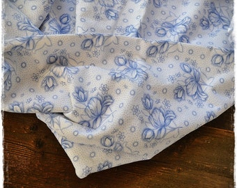 cotton fabric antique, blue-white, pattern printed