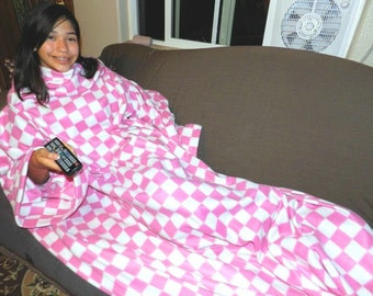Pink and White Checkers Snuggie