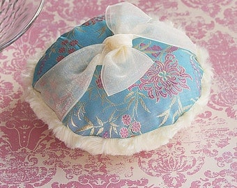 Dusting Powder Puff  SILK BROCADE (teal and soft yellow)
