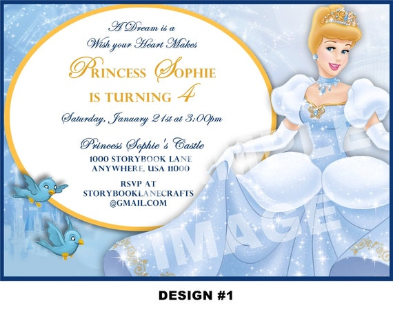 Cinderella Invitation Disney Princess Birthday Party – Cinderella Birthday Invitation Wording