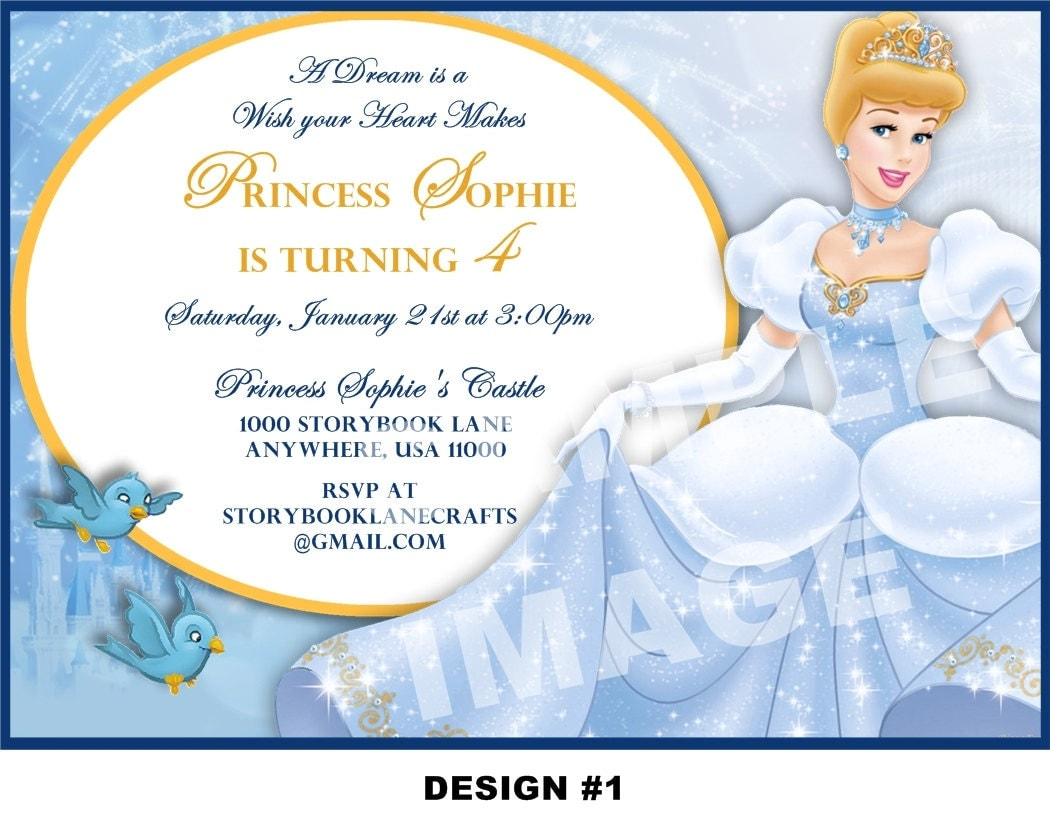 Cinderella Invitation Disney Princess Birthday Party