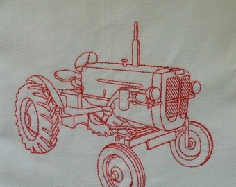 """Large 30"""" x 30"""" Tractor Embroidered Flour Sack Kitchen Towel 100% Organic Cotton"""