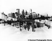 Abstract Minneapolis, Minneapolis City Skyline Art Photograph, Black and White Film Photographic Print