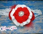 Red, White Headband, Red Flower Headband, Girls Headband, Baby Hair Accessory, Red Hair Clip, hair accessories, Toddler, Infant Headband