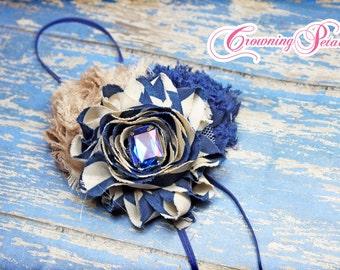 Navy, Tan, Beige Flower Hair Bow, Hair Accessory, Clip, Shabby Chiffon Headband, Fabric Flowers, Brooch Pin, Baby Girl Hair Bow