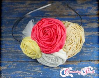 Coral, Mustard Yellow, Cream Rosette Headband, Fabric Flower Hair Accessory, Baby Girls Hair Clip, Hair Bow, Fabric Flowers Brooch