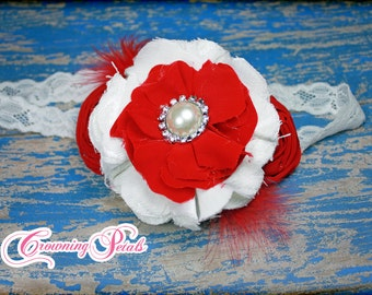 Red, White Headband, Red Flower Headband, Girls Headband, Baby Hair Accessory, Red Hair Clip, hair accessories, Toddler, Infant Headband