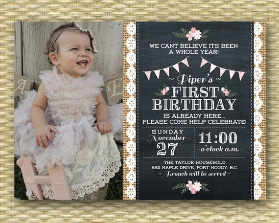 St Birthday Invitation Shabby Chic Tea Party Vintage - Vintage girl birthday invitation