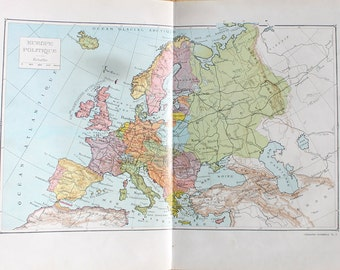 Large Europe map 1922 Vintage French antique map Antique Europe map Old map Old Europe map Vintage classroom decor geography Anne Londez