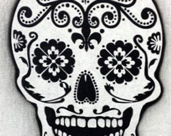 Day of the death sugar skull airbrush stencil
