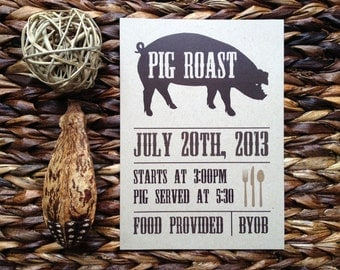 Pig roast invitation | Etsy