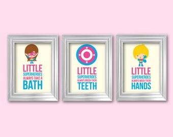 Little Superheroes Girls Popular Items For Girls Bathroom On Etsy