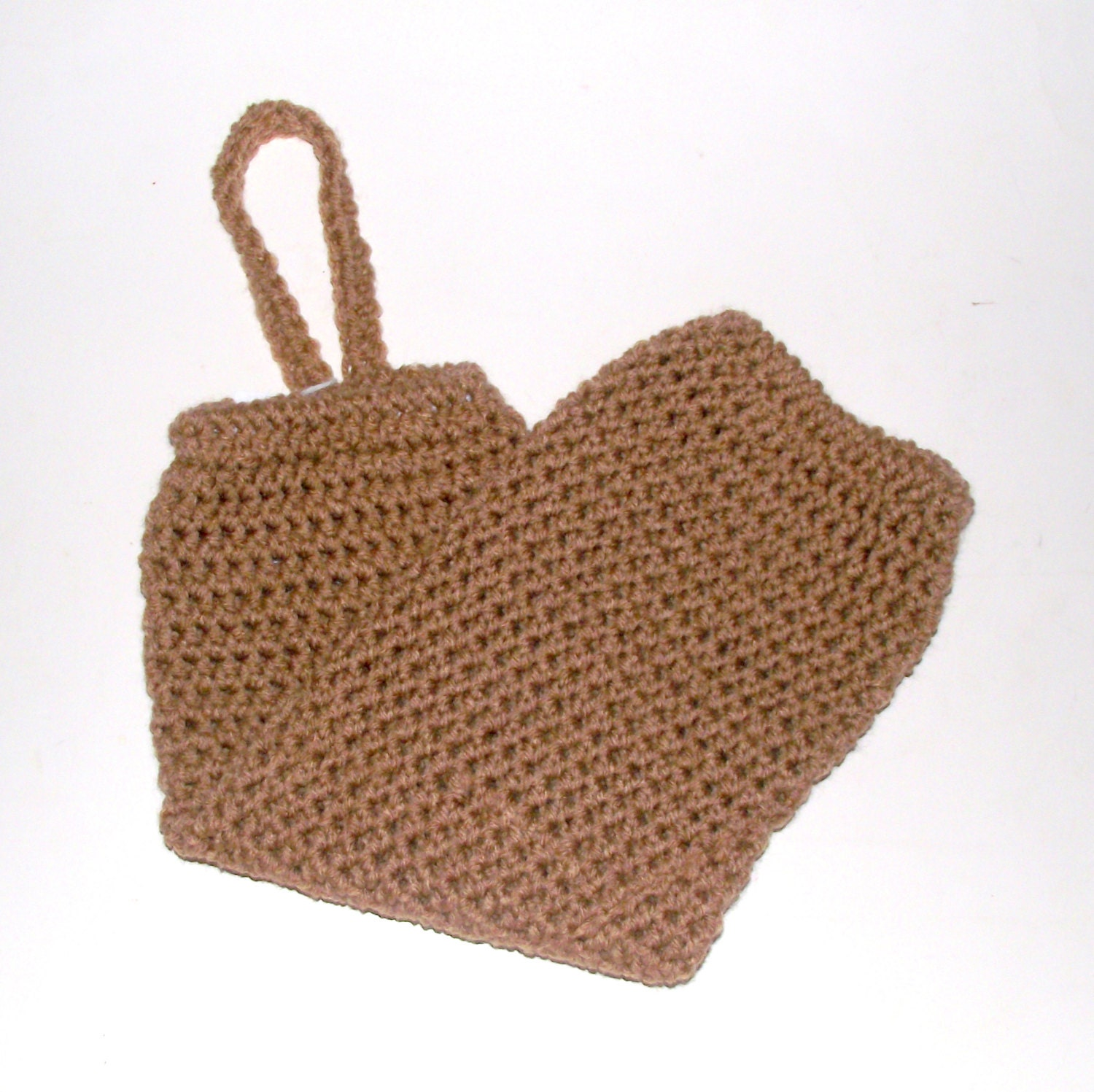 Crochet Grocery Bag : Warm Brown Plastic Bag Rag Holder Crochet by CreationsByDeAnn