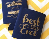 Best Day Ever Script Wedding Can Coolers, floral vine romantic wedding stubby holder, Best Day ever can coolie, wedding beverage holder