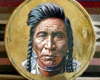 Handmade Hand Painted Native American Style Hoop Drum - CROW BRAVE