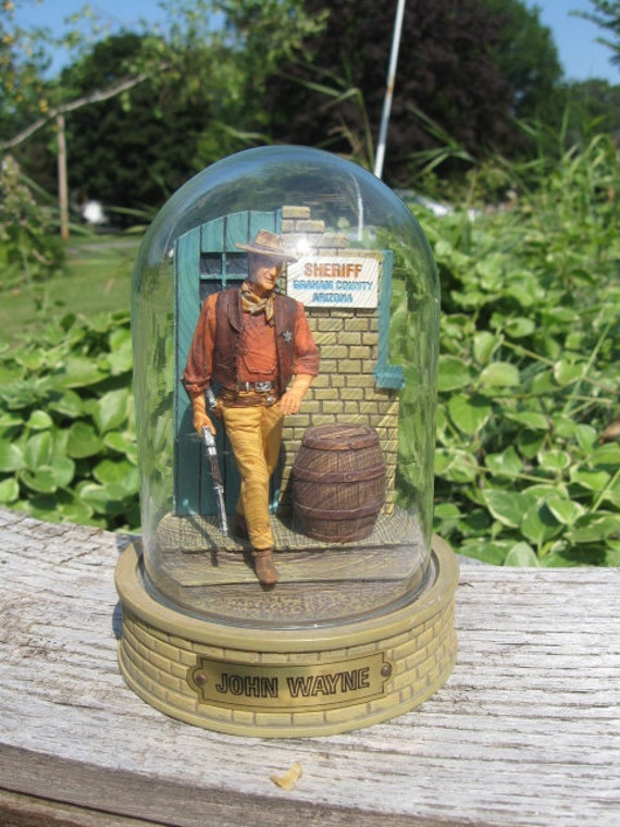 John Wayne under glass-Sheriff by Jail-Glass Dome-1960s era-Collectible-Handpainted Sculpture