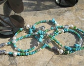 "Turquoise and Green Belly Beads - ""Seaflower"" - Single strand custom fit waistbeads"