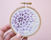 Ombre Burst Geometric Embroidery Hoop Art, 3 Inch Hoop, Modern Minimal Decor, Purple Lilac Lavender, Whimsical Gift or Holiday Ornament