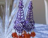 Purple filigree earrings - Red orange crystal earrings