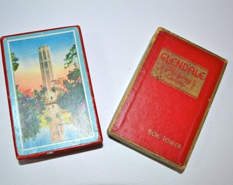 Vintage 1940's Bok Tower Florida Playing 52 Card Deck in Original Glendale Box - VT12