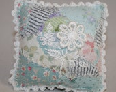 Green Patchwork Pincushion with Lace flower motif, hand embroidered