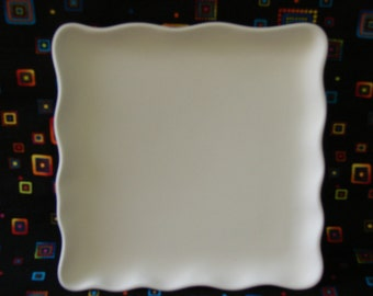 """Sassy Plate 9"""" sq - bisque; painted and painted"""