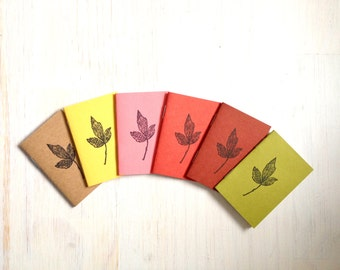 Tiny Journals: Notebooks, Leaves, Kids, Brown, Yellow, Red, Green, Small Notebooks, Unique, Gift, Stocking Stuffer, For Him, For Her