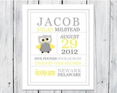 Birth Announcement Wall Art Print 8x10 - Gray and Yellow Nursery - Owl Nursery - CANVAS PRINT available