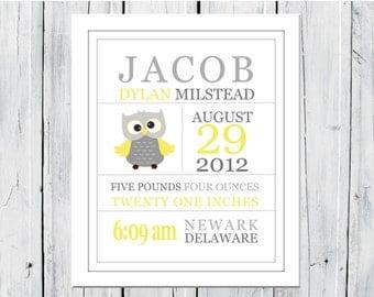 Birth Announcement Wall Art Print  - Gray and Yellow Nursery - Owl Nursery