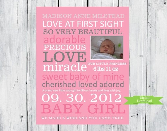 Customized Baby Girl  with baby picture Subway Art digital download- Quick and easy gift PDF