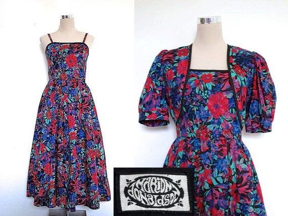 Was 49.90 - Vintage Dress & Bolero Jacket - Marion Donaldson - Blue Red Floral Summer Dress - 70s Does 50s - Prom Party Races Wedding