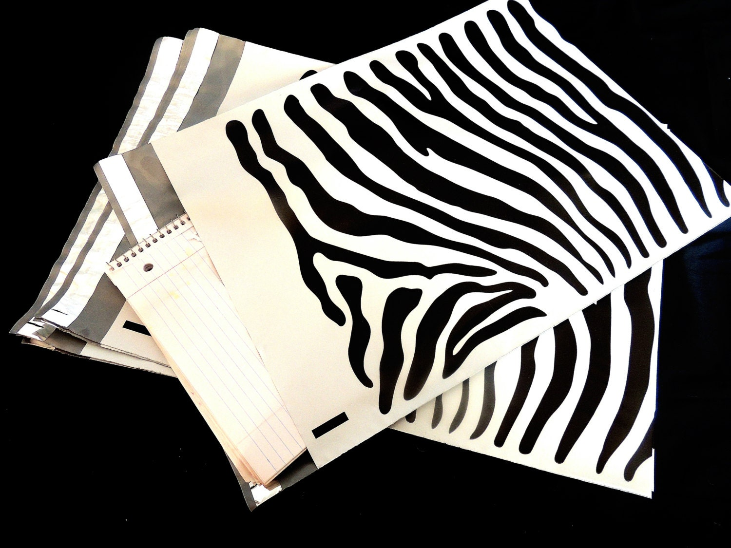 20 pack 12 x15 zebra decorative poly mailers flat zebra for Decorative poly mailers