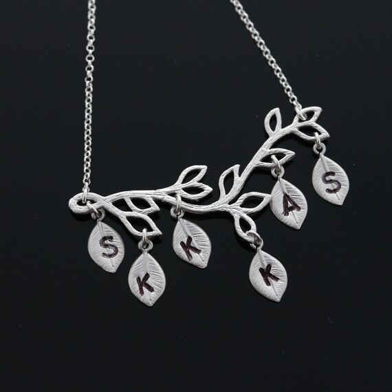 Monogrammed Initials Necklace . Mother, Grandmother Necklace . Personalized Silver Family Tree Branch .Sister Gift
