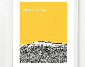 Addis Ababa Poster - Africa City Skyline Art Print -  Addis Ababa Ethiopia