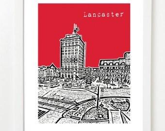 Lancaster Pennsylvania Skyline - Lancaster City Art Print - Lancaster PA