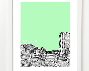 Reston Poster - Reston Virginia State Art Print - Reston City Skyline Series -