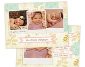 Birth Announcement Template for Photographers Photo Card Template Photography Birth Announcement Photoshop Card Template - BA114