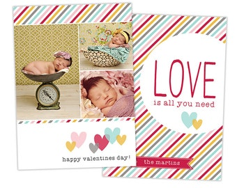 Valentine's Day Card Template for Photographers Valentines Day Photo Card Photoshop Card Template - VD112