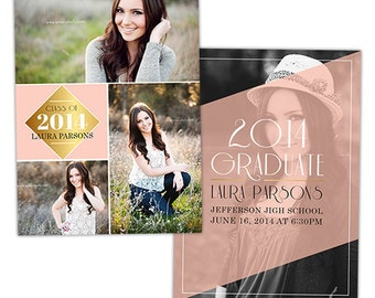 Senior Graduation Announcement Card Template for Photographers - Photoshop Templates for Photographers - Photo Card Template - GD112