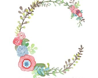 C - Floral Letter print